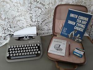 Vintage Smith Corona Skyriter Portable Typewriter in Case w/ 2 books, new ribbon