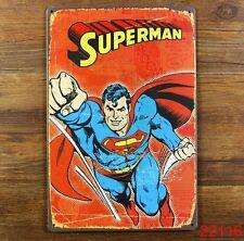 Flying SUPERMAN FUMETTO Vinatge metallo segno stagno - 30 x 20cm