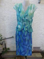 DAVID & JESSIE BLUE,GREEN & WHITE PRINT VISCOSE MIX STRETCH DRESS-SZ L 12 VGC