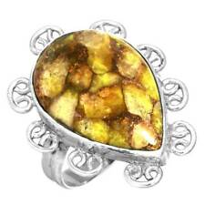 925 Sterling Silver Women Jewelry Yellow Copper Calcite Ring Size 8.5 oD86930