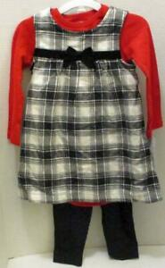 JUST ONE YOU CARTER'S RED BLACK BUFFALO CHECK DRESS OUTFIT 18 MTHS 3 PIECE SET
