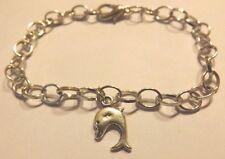 bracelet argenté 19,5cm dauphin 17x10 mm