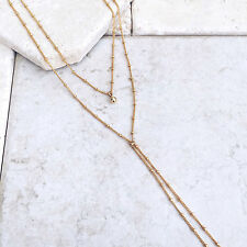 Delicate Y Lariat Necklace, Dainty Gold Beaded Chain, Choker Women Necklace New