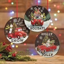 "RAZ Imports~6"" Snowman Automobile Disk Christmas Ornament~Set 3~Tree/Farm Truck"
