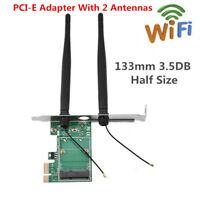 Wireless WiFi Network Card Mini PCI-E To PCI-E 1X Desktop Adapter + 2 Antennas