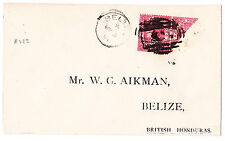 BRITISH HONDURAS/BELIZE:1891 cover franked with Sc#28 & 28a (diag 2c used as 1c)