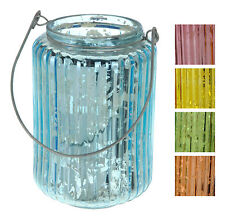 2 Beautiful Round Glass Lantern Tea Light Holder Candle Holder with CarryHandle