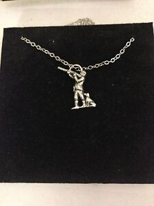 Shooter R114 English Pewter on a Silver Platinum Plated Necklace 18""