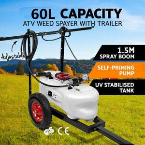 60L ATV WEED SPRAYER 1.5M Boom ATV Trailer Spot Adjust BOOM Spray Garden Farm