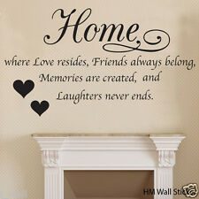 """"""" HOME is where love resides... """" inspirational quote wall art decal"""