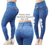 Original Levanta Cola Franka jeans push up 278 med blue high waist skinny jeans