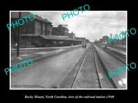 OLD LARGE HISTORIC PHOTO OF ROCKY MOUNT NORTH CAROLINA RAILROAD STATION c1940