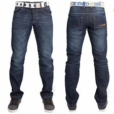 New Mens Enzo 266 Designer Straight Leg Jeans Darkwash Blue FREE BELT 34S