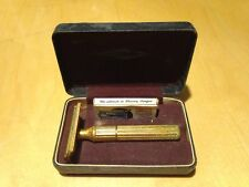Gillette GOLD Tech double edge safety razor set box, 1 blue blade vintage shave