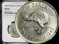 1943 New Zealand Florin KM# 10.1 - NGC AU55 Silver (aUNC)