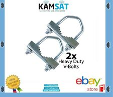 """2 x Heavy Duty Jaw V-Bolts up to 2"""" Aerial Pole/Mast- Steel Outdoor U-Bolt Clamp"""