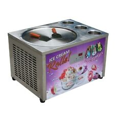 Commercial Tabletop 18 Single Round Pan With 3 Tanks Roll Ice Cream Machine