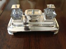 ENGLISH VICTORIAN ANTIQUE STERLING SILVER DESK INKSTAND BARNARD LONDON 1843