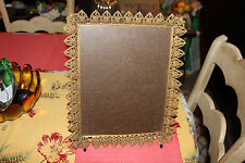 Vintage Gilded Gold Metal Ormolu Picture Photograph Frame-Flower Pattern Border