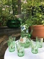 "Antique EAPG DUGAN Green Glass Decorated 12"" TANKARD / LEMONADE SET"