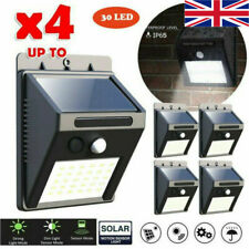 More details for 4x garden lights solar powered wall mounted door fence patio deck security lamp