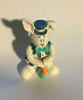 "Vintage Miniature Easter Bunny Rabbit With Bow Tie Resin 2"" X 1.25"""