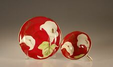 Castle China Handpainted Red with White Calla Lily Cup and Saucer