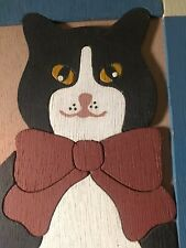 "Vintage ""Country Cat"" 1990 Original Carved & Painted Wood Cat Plaque"