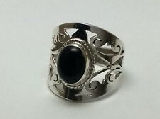 Sterling Silver & Black Onyx Ring Size 6.5