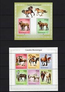 GUINE-BISSAU 2010 CAVALOS MUSTANGUE HORSE STALLONS DOMESTIC ANIMALS STAMPS MNH**