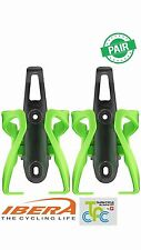 Adjustable Plastic Bike Water Bottle Cage Bicycle Drink Holder PAIR Green BC17 2