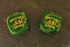 Dragon Force Gaming pair of Chessex 16mm 6-sided dice d6 Vortex Green/Gold dice