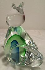 "Mid-Century Murano Sommerso Kitty Cat Blue & Green Figurine/Paperweight  6 1/4"""