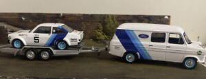 IXO 1/43 - Ford Transit + Ford Escort & Trailer Ring Rally Castrol