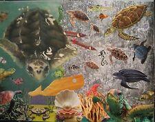 "Original art collage ""Turtles Smurtles"" by Nancy Graham 2015, small 9"" x 12"", mm"
