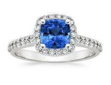 2.00 Ct Cushion Cut Diamond Natural Blue Sapphire Ring Sterling Silver Size 4566