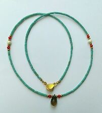 Afghan Natural Turquoise Tiny Beads Necklace with Smokey Quartz Pendant & Brass
