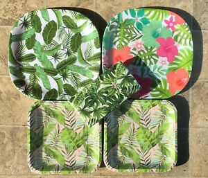 Tropical Luau Green Garden Leaves Party Plastic Platters Paper Plates Napkins