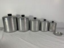 Vintage Mid Century Aluminum Canister Set Flour Sugar Coffee Tea Grease