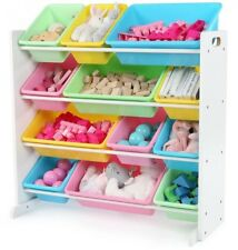 White Pastel Toy Storage Organizer With 12 Plastic Bins Children Room Furniture