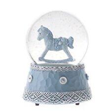 Gisela Graham Rocking Horse Baby Boy Girl Large Glitter Globe Snow Pink or Blue