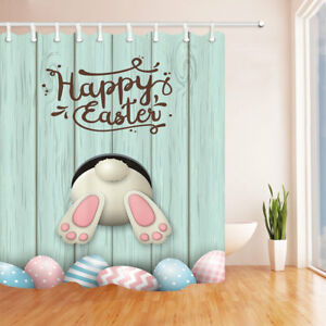 """Rabbit Ass and Eggs Easter Themed Fabric Shower Curtain Bathroom Waterproof 71"""""""
