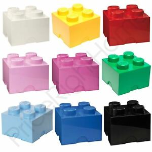 LEGO STORAGE BRICK BOX 4 KNOBS KIDS CHILDRENS BEDROOM PLAYROOM VARIOUS COLOURS
