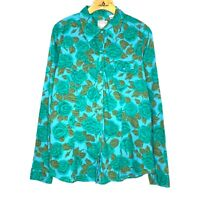 Roper Womens Blue Green Floral Snap Button Flannel Size L 100% Cotton