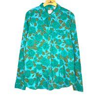 Roper Womens Blue Green Floral Snap Button Flannel Size L 100% Cotton