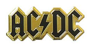 AC/DC logo small black/gold METALLIC sticker 60mm x 25mm (cv)