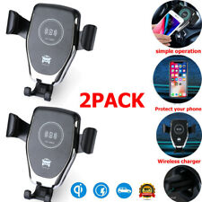 2X Qi Wireless Fast Charging Car Charger Mount Holder Stand For Cell Phone 2in1