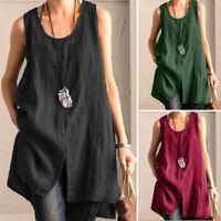 ZANZEA Women Summer Sleeveless Top Vest Cami Tee T-Shirt Tank Tunic Blouse S-5XL