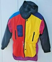 Vtg 80s 90s TYROLIA NEON COLORBLOCK Ski Coat Hooded Parka Jacket Sz 8 Small WOW