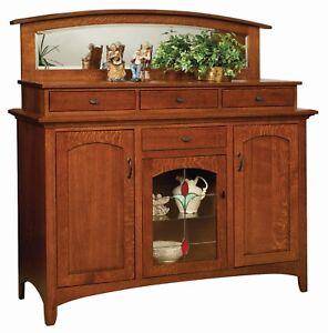 "Amish Arts & Crafts Craftsman Sideboard Buffet Solid Wood Garrison 60"""